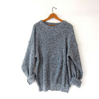 vintage speckled sweater. loose knit sweater. black + gray sweater. boyfriend sweater. oversized sweater.