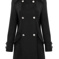 Black Buttoned Trench Coat