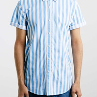 Blue / White Stripe Short Sleeve Shirt - Topman