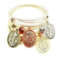 Sail Away Adjustable Bangle Bracelet - 4 Colors
