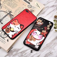 A Fortune Cat Glass texture mobile phone case for iPhone X 7 7plus 8 8plus iPhone6 6s plus -171212