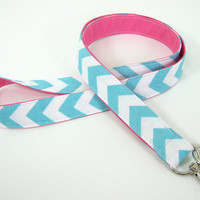 Fabric Lanyard  ID Badge and Key Ring - Aqua Chevron Lanyard with Pink Accent - Two Fabrics