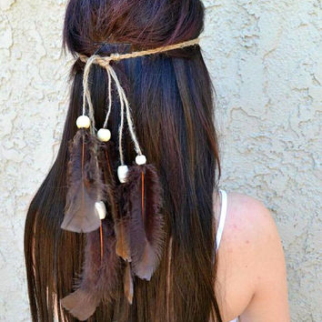 Feather Headband - Feather Hairpiece - Festival Headband - Hippie Headband - Hair Accessories - Bohemian - Tribal