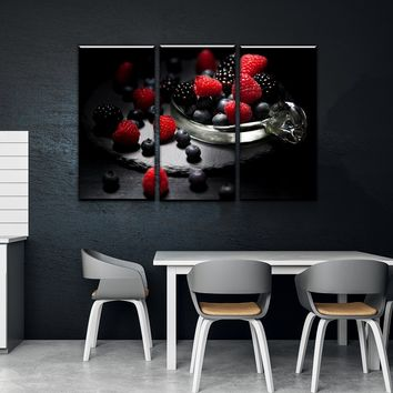 Very Berry Kitchen and Dining Room Wall Decor Canvas Set