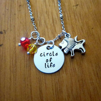 """Disney's """"Lion King"""" Inspired Necklace. Circle of Life. Silver colored, Swarovski crystals, for women or girls"""