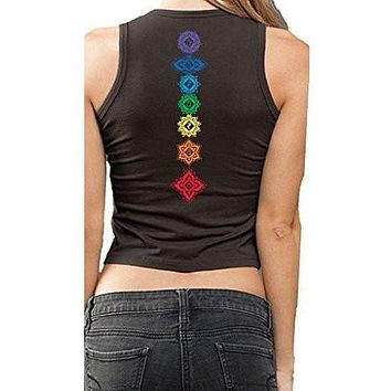 Ladies FLORAL CHAKRAS Cropped Tank - Made in America