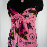 80s Betsey Johnson pink silk photo transfer floral silk chiffon baby doll style camisole strappy top: size 6-8 US