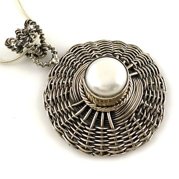 Pearl Sterling Silver Wire Wrapped Pendant