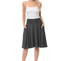 Jersey A-Line Midi Skirt with Pockets