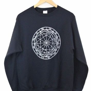 Silver Metallic Zodiac Wheel Black Crewneck Sweatshirt