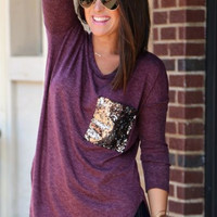 Sequins Pocket Long Sleeve Shirt