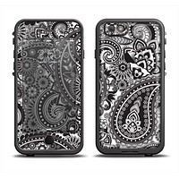 The Black and White Paisley Pattern V6 Apple iPhone 6 LifeProof Fre Case Skin Set