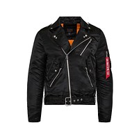 Alpha Industries Men's Outlaw Moto Biker Black Jacket