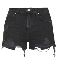 MOTO Washed Black Ripped Rosa Shorts