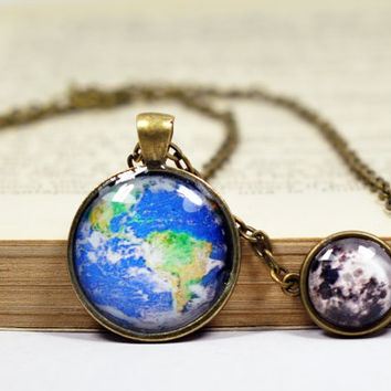 Earth Full Moon Necklace, Statement Necklace, Glass Dome Chain Necklace, Resin Jewelry