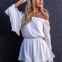White Off Shoulder Flare Sleeve Romper