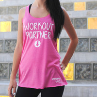Workout Partner Tank Top. Maternity Shirt. Baby Announcement Tank. Custom Maternity Shirt. New Mom. Baby Shower. Baby Bump. Eco Racerback.