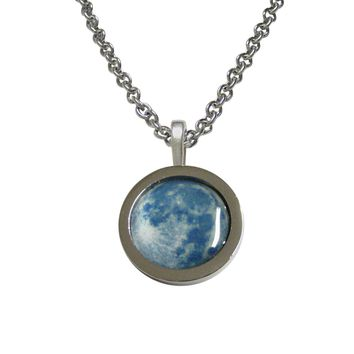 Bordered Blue Moon Pendant Necklace