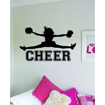 Cheer Decal Sticker Room Bedroom Wall Vinyl Art Decor Girl Boy Teen Kids Sports School Cheerleader Cheerleading Lead Dance Sing Jump Stunt Tumble Spirit
