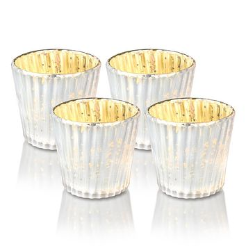 4 Pack | Vintage Mercury Glass Candle Holders (3-Inch, Caroline Design, Vertical Motif, Pearl White) - For use with Tea Lights - Home Decor, Parties and Wedding Decorations