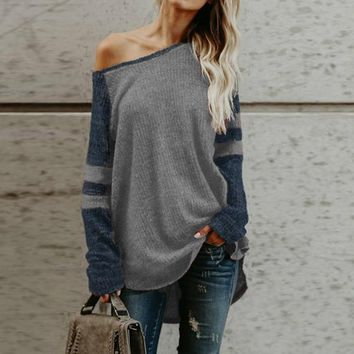 Laamei Off Sholuder Sexy Sweater Women Striped Oversize Knitted Pull Femme 2018 Winter Knitted Sweaters Street Autumn Pullovers