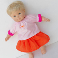 """Clothes PINK Orange Skirt Handmade For Bitty Baby 15"""" or 18"""" American Girl Doll"""
