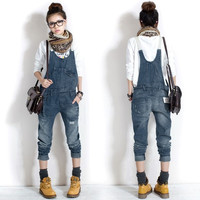 Fashion Women Washed Casual Jumpsuit Romper Overall Jean Frayed Denim Pant 7_S