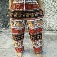 Yoga Harem Pants Elephant Print fabric Gypsy Hippies Baggy Boho Fashion exercise Trousers clothing Gypsy Tribal Clothes Summer in Red black