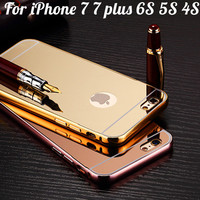 Luxury Mirror Acrylic+Aluminum Case For iPhone 7 7 plus 6 6S 6 plus 5S 4S Metal Back Cover For iPhone 7 Mobile Phone Accessories