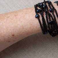 Cuff Bracelet Black Multi Strand Layered wrap Bead Pearls Delicate Sexy modern style Cool minimalist tribal Bohemian gothic Magnetic clasp
