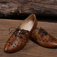 New! Handmade Hollow Leather Shoes For Women ,Summer Sandals,Fashion Women Boot,Vintage Hollow Sandals,Fashion Flat  Sandals,Free Shipping