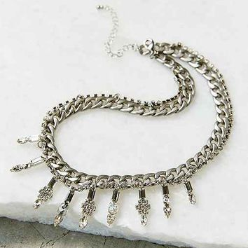 Frosted Chainlink Necklace- Silver One