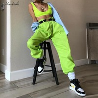Macheda Women High Waist Solid Pants Fashion Pencil Pants Green Streetwear Loose Jogger Ladies Casual Cargo Pants New