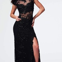 Sequin Embellished Lace Formal Evening Gown