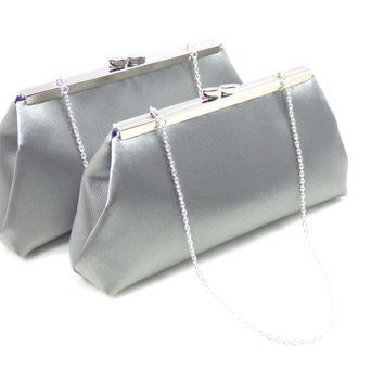 Set of Two Steel Grey and Blackberry Purple Bridesmaid Gift Clutches