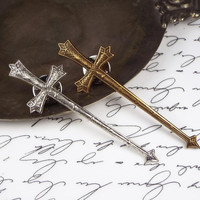 Medieval Sword Tie Tack, Silver Plated or Brass, Men's Jewelry