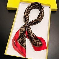 FENDI Hot Sale Women F Letter Silk Scarf Kerchief Cape Scarf Silk Scarves