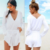 White V-neck Long Sleeve Women's Fashion Waistband Hot Sale Romper [4918863492]