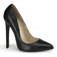 Black Leather Sky High Sexy Pumps