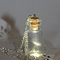 One Special Wish, Dandelion Seed in a bottle, Botanical Vial Terrarium Necklace- Glass Bottle Pendant -Botanical jewelry