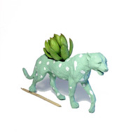 Up-cycled Sea Glass Cheetah Animal Planter