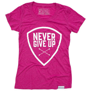 Never Give Up Fuchsia Women's T-Shirt