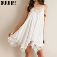 Lace Summer Dress Women For Solid Sexy Hollow Out Loose Cami Sleeveless Knee-Length Vestidos Casual Dresses 2017 New Fashion