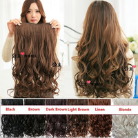 Clip in Hair Extensions Sexy Long Curly  Human Hair Extensions Synthetic Wig = 1932071556