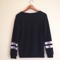 Erin Black Contrast Striped Sweatshirt