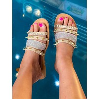 Ashley Studded Sandals- Strappy- Taupe