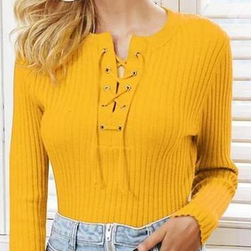 O Neck Tie Up Knitted Sweater