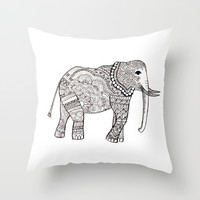 Mandala Meets Elephant Throw Pillow by Designs By Anne
