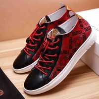 Versace New fashion print men shoes single shoes Red