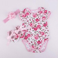 Bodysuit baby girl Baby girl clothes sets girl clothes outfits (Bodysuits+Accessories + Baby First Walkers)
